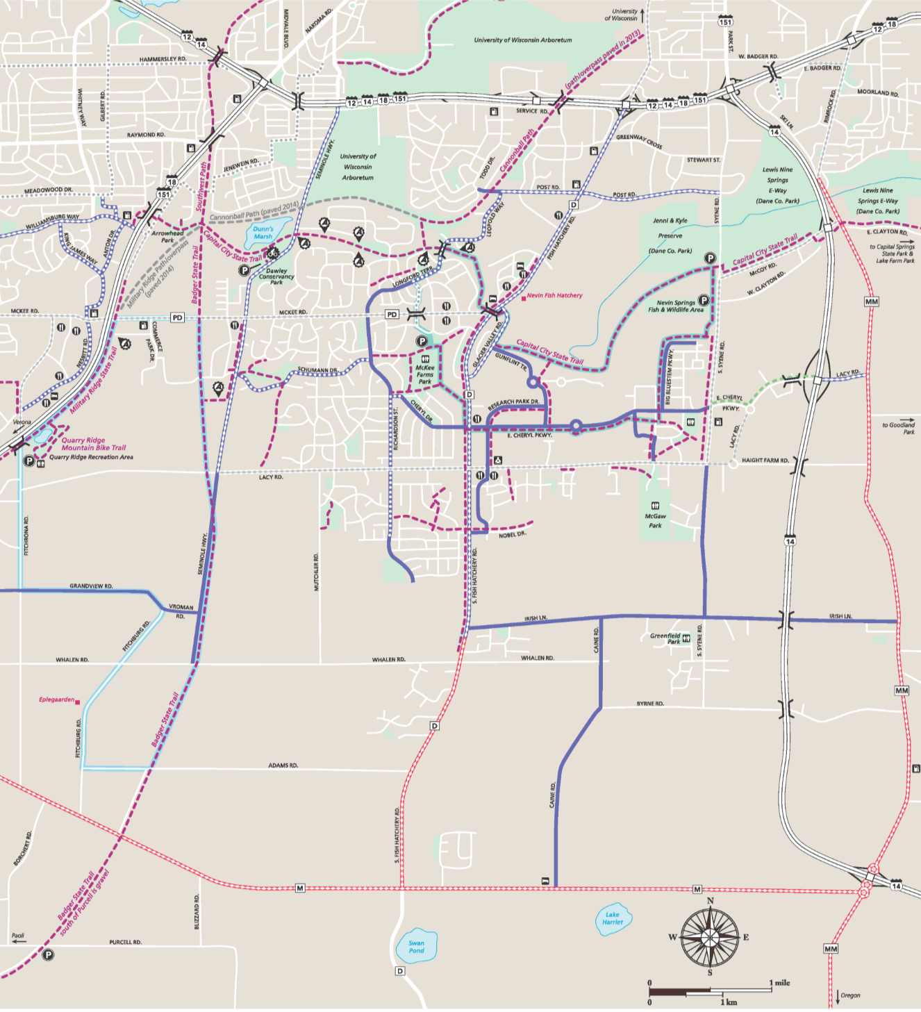 Fitchburg Bike Map